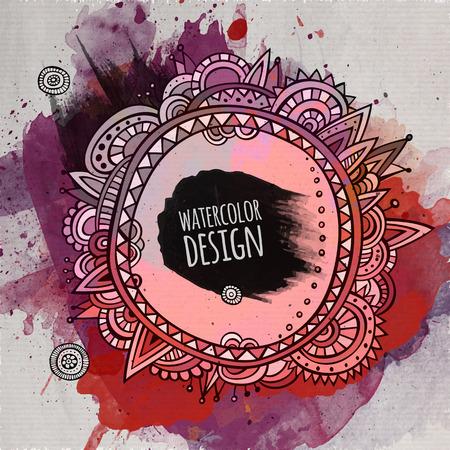 arte abstracto: Vector acuarela abstracta pintura del diseño decorativo abstracto Vectores