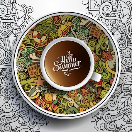concetto: Illustrazione vettoriale con una tazza di caffè e disegnati a mano estivi acquerello scarabocchi su un piattino e lo sfondo