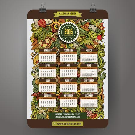 dattelpalme: Doodles Sommer Kalender 2016 Jahre Design, Englisch, Sonntag beginnen Illustration