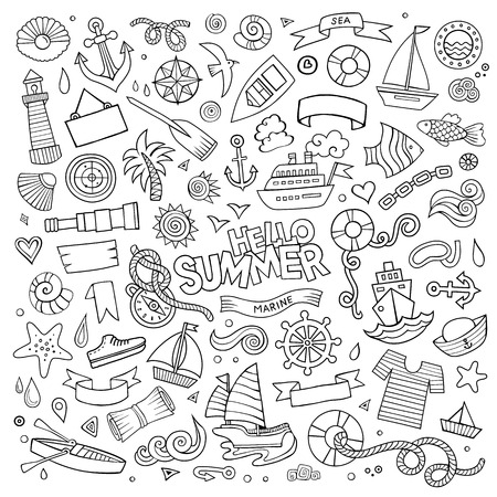 scuttle: Marine nautical hand drawn vector symbols and objects