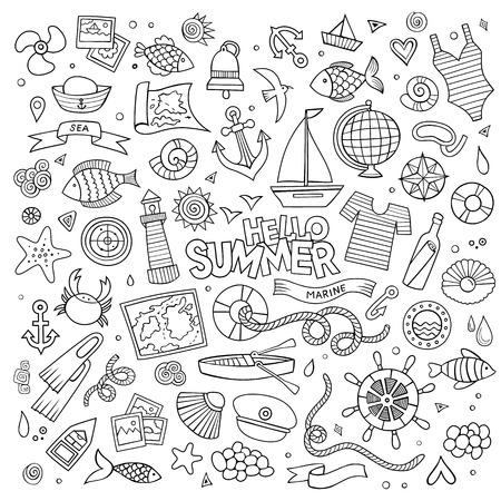 coast: Marine nautical hand drawn vector symbols and objects