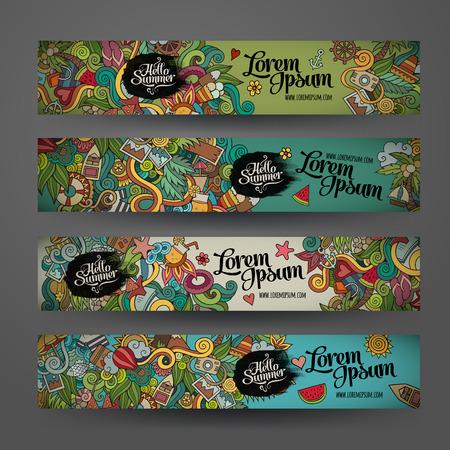 estate: Modelli di banner vettoriale set a tema doodles estate