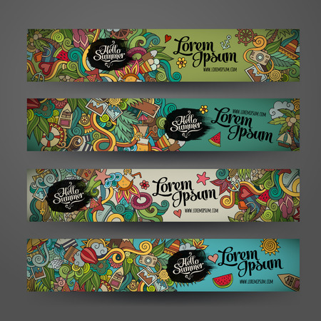 sea fish: Vector banner templates set with doodles summer theme