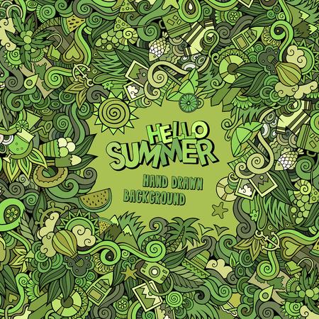 Doodles abstract decorative summer vector frame. greeting card design Vector