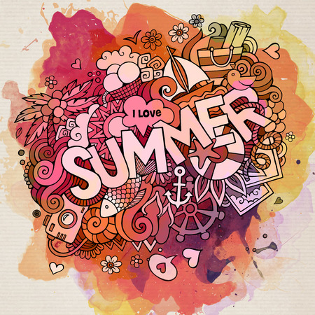 hand lettering: Summer watercolor hand lettering and doodles elements. Vector illustration
