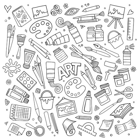 art painting: Art and craft hand drawn vector symbols and objects Illustration