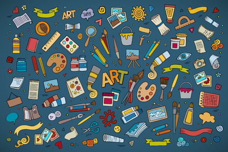hand drawn cartoon: Art and craft hand drawn vector symbols and objects Illustration