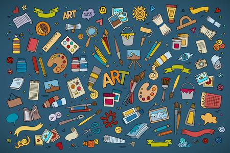 řemeslo: Umění a řemesla ručně kreslenými vektorové symboly a objekty