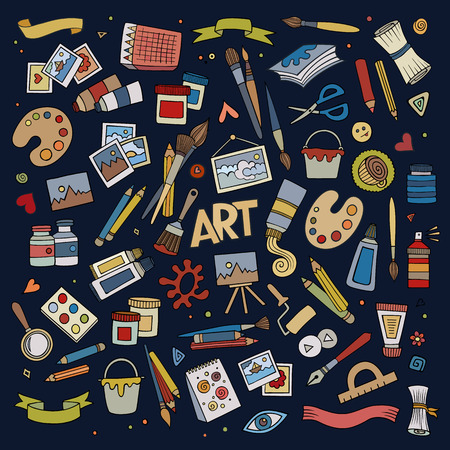 アートや工芸品の手描きベクトル シンボルとオブジェクト