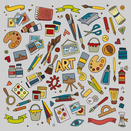 palette knife: Art and craft hand drawn vector symbols and objects Illustration