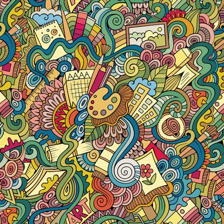 Cartoon vector doodles hand drawn art and craft seamless pattern Vettoriali