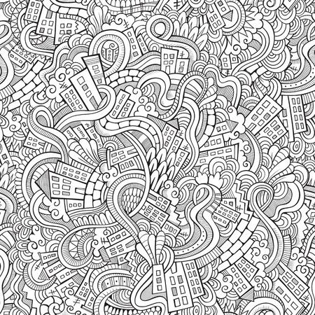 漫画のベクトルは、手描きの町をいたずら書き。シームレス パターン  イラスト・ベクター素材