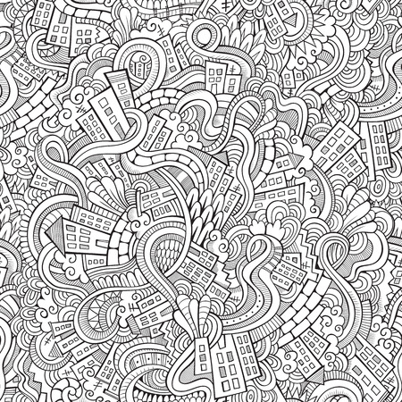 Cartoon vector doodles hand drawn town. seamless pattern