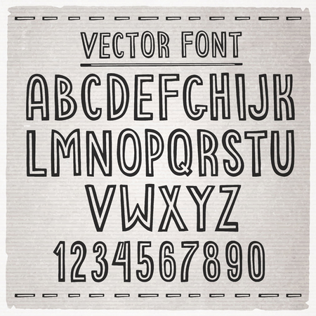 Hand drawn stripe slim font. Vector alphabet.