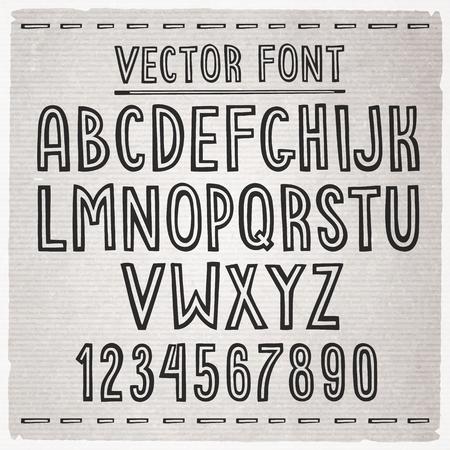 Hand drawn stripe slim font. Vector alphabet. Vector