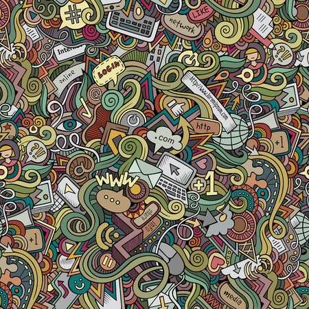 social web sites: Cartoon vector doodles hand drawn internet social media seamless pattern