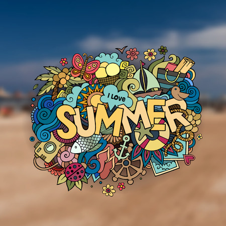 Summer hand lettering and doodles elements. Vector blurred illustration Vector