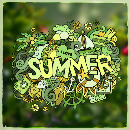 cloud vector: Summer hand lettering and doodles elements. Vector blurred illustration