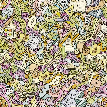 collage: Cartoon vector doodles hand drawn school seamless pattern