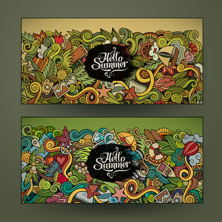 Vector banner templates set with doodles summer theme Vector