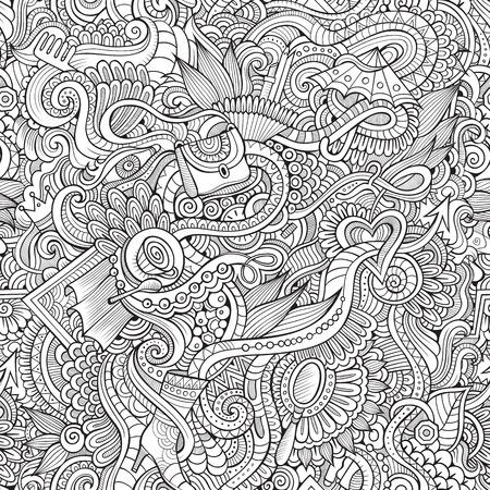 verschnörkelt: Nahtloses Muster mit weiblichen Mode-Dinge Hintergrund Illustration