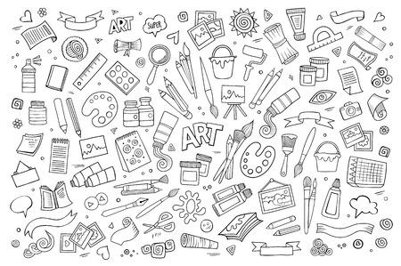 paper craft: Arte y artesanía dibujado a mano símbolos y objetos vectoriales Vectores