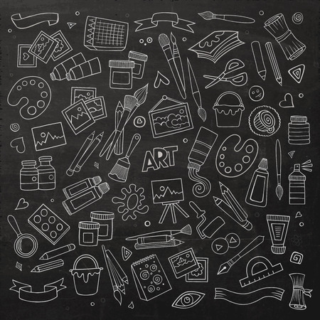 hand craft: Art and craft hand drawn vector symbols and objects Illustration