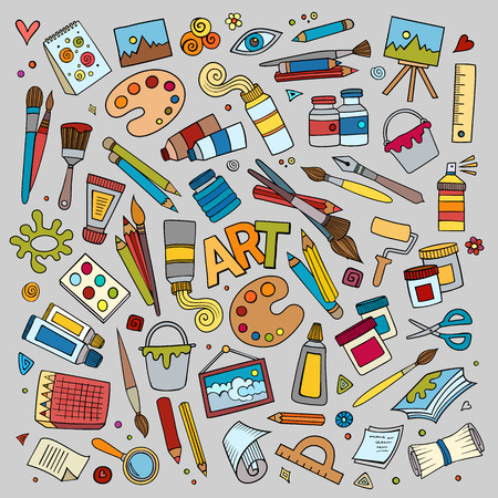 Art and craft hand drawn vector symbols and objects Illustration