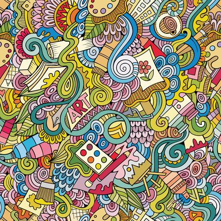 cartoon pen: Cartoon vector doodles hand drawn art and craft seamless pattern Illustration