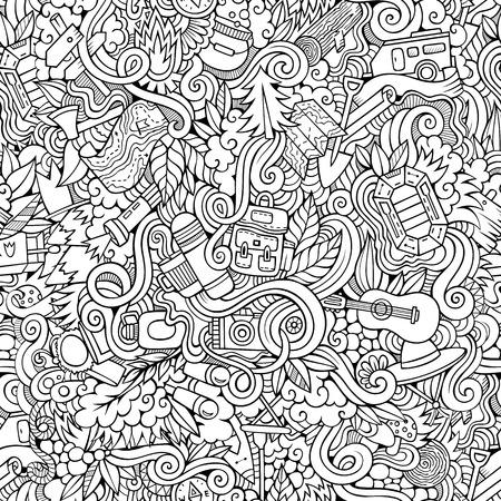Cartoon vector doodles hand drawn camping seamless pattern Çizim