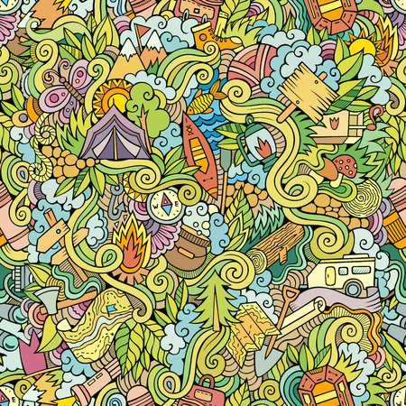 Cartoon vector doodles hand drawn camping seamless pattern Illustration