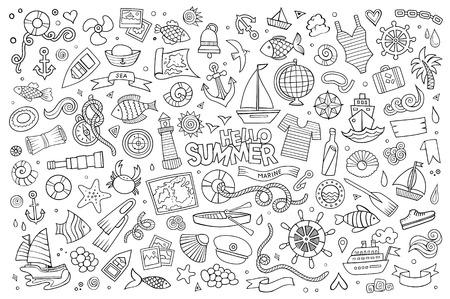 Marine hand getekende vector symbolen en objecten Stock Illustratie