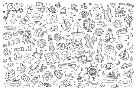 Marine nautical hand drawn vector symbols and objects