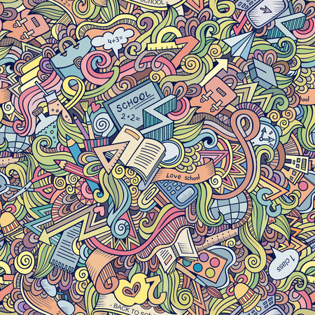 Cartoon vector doodles hand drawn school seamless pattern