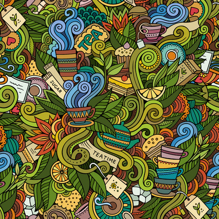 tea plantation: Seamless decorative tea doodles abstract pattern background