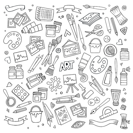 craft supplies: Art and craft hand drawn vector symbols and objects Illustration