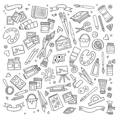 Sztuka i rzemiosło ręcznie rysowane symboli i obiektów