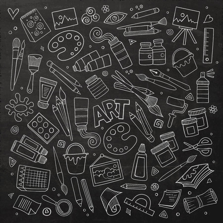 doodle art: Art and craft hand drawn vector symbols and objects Illustration