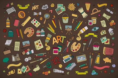 paper craft: Arte y artesan�a dibujado a mano s�mbolos y objetos vectoriales Vectores