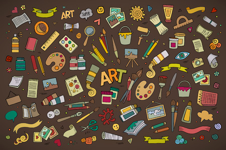 Art and craft hand drawn vector symbols and objects Stock Illustratie
