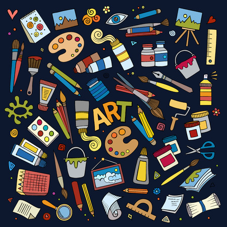 Art and craft hand drawn vector symbols and objects Vettoriali
