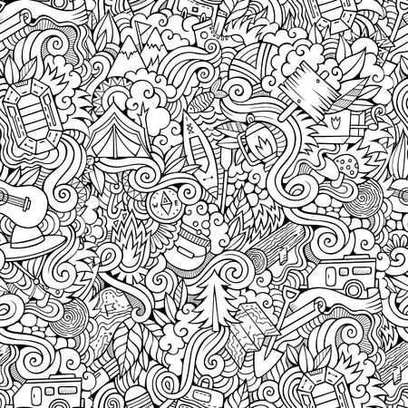 picnic park: Cartoon vector doodles hand drawn camping seamless pattern Illustration