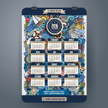 cartoon calendar: Doodles marine Calendar 2016 year design, English, Sunday start Illustration