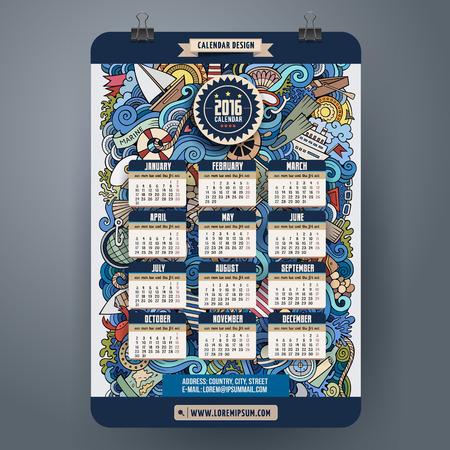 kalendarz: Doodles morskich Kalendarz 2.016 roku projekt, angielski, niedziela początek Ilustracja