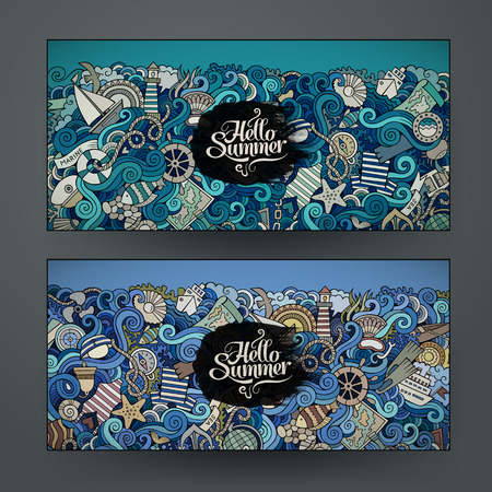 water wheel: Vector banner templates set with doodles marine theme