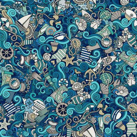 Бесшовные абстрактный узор морская и морская фон Иллюстрация