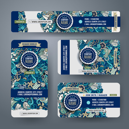 Corporate Identity vector sjablonen set met krabbels marine thema