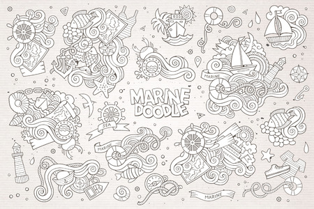 sail fin: Marine nautical hand drawn vector symbols and objects