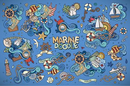 timon barco: Dibujados a mano símbolos vectoriales náuticas Marinos y objetos Vectores