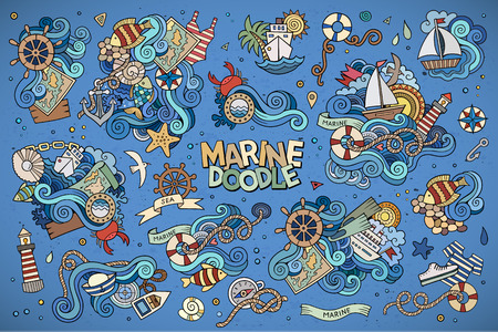 and marine life: Marine nautical hand drawn vector symbols and objects